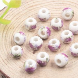 Beads, Porcelain, Assorted colours , Round shape, 8.5mm x 8.5mm x 7mm, 5 Beads, [TCZ0033]